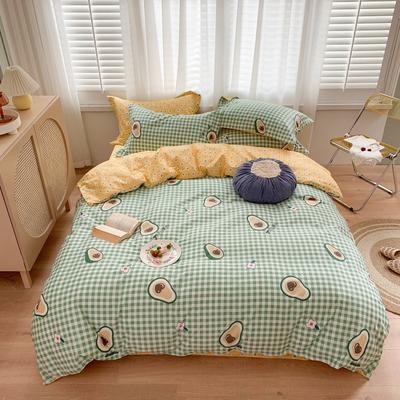2020新款-插画师全棉系列四件套 床单款三件套1.2m(4英尺)床 爱心牛油果