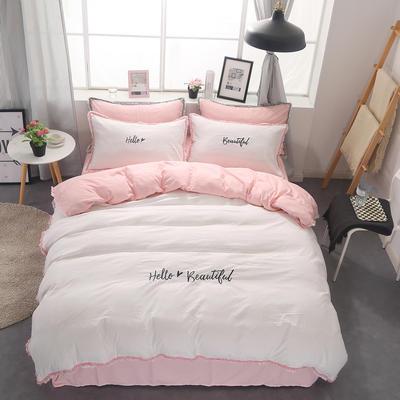 水洗棉流苏花边四件套 1.5m/1.8m床单款 粉白色