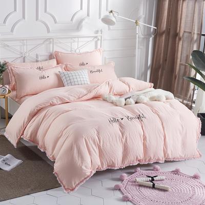 水洗棉流苏花边四件套 1.5m/1.8m床单款 全粉色