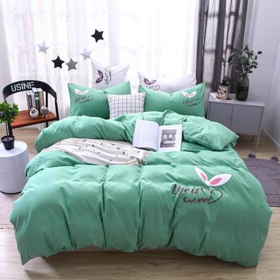 (总) 网红四件套混合绣花磨毛水洗棉床单床笠款 1.8m(6英尺)床 床单款 豆绿色