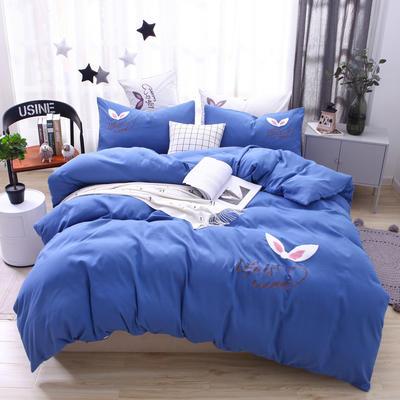 (总) 网红四件套混合绣花磨毛水洗棉床单床笠款 1.8m(6英尺)床 床单款 孔雀蓝