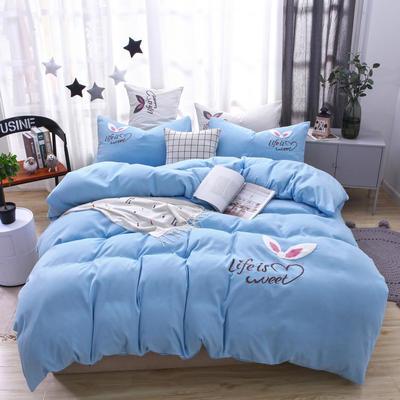 (总) 网红四件套混合绣花磨毛水洗棉床单床笠款 2.0m(6.6英尺)床 床笠款 梦幻-蓝