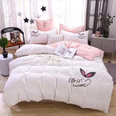 (总) 网红四件套混合绣花磨毛水洗棉床单床笠款 2.0m(6.6英尺)床 床笠款 奶白-玉