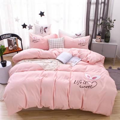 (总) 网红四件套混合绣花磨毛水洗棉床单床笠款 2.0m(6.6英尺)床 床笠款 少女-粉