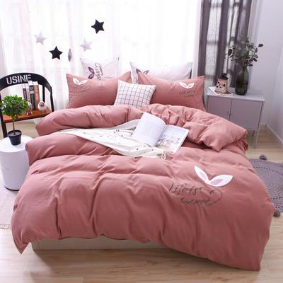 (总) 网红四件套混合绣花磨毛水洗棉床单床笠款 2.0m(6.6英尺)床 床单款 甜豆沙