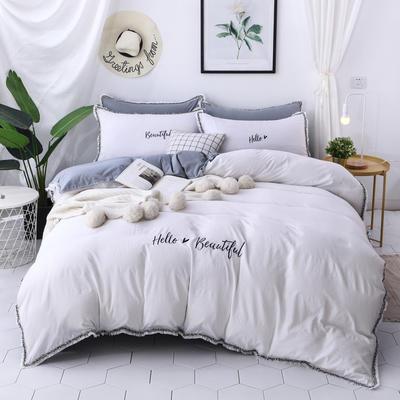 水洗棉流苏花边四件套 1.5m/1.8m床单款 白灰色