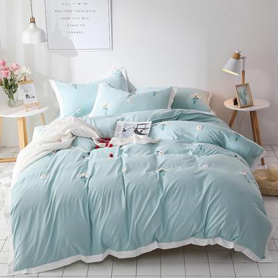 (总)网红爆款水洗棉小雏菊毛巾绣拼角宽边花边四件套 1.5m(5英尺)床 浅绿色