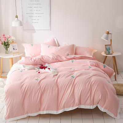 (总)网红爆款水洗棉小雏菊毛巾绣拼角宽边花边四件套 1.5m(5英尺)床 粉玉色