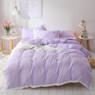 (总)网红爆款水洗棉小雏菊毛巾绣拼角宽边花边四件套 1.5m(5英尺)床 浅紫色