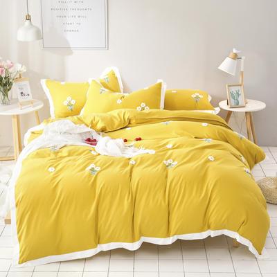 (总)网红爆款水洗棉小雏菊毛巾绣拼角宽边花边四件套 1.5m(5英尺)床 姜黄色