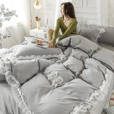 2020新款水洗棉公主风蕾丝花边绣花蝴蝶结床单款四件套 1.5m(5英尺)床 都市灰