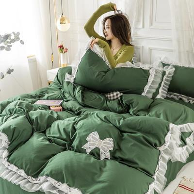 2020新款水洗棉公主风蕾丝花边绣花蝴蝶结床单款四件套 1.5m(5英尺)床 墨绿