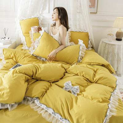 2020新款水洗棉公主风蕾丝花边绣花蝴蝶结床单款四件套 1.5m(5英尺)床 柠檬黄