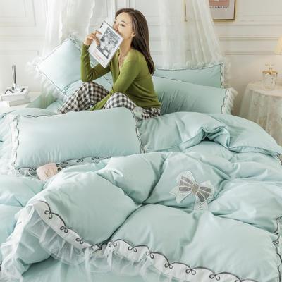 2020新款水洗棉公主风蕾丝花边绣花蝴蝶结床单款四件套 1.5m(5英尺)床 水绿