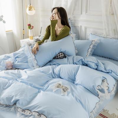 2020新款水洗棉公主风蕾丝花边绣花蝴蝶结床单款四件套 1.5m(5英尺)床 天空蓝