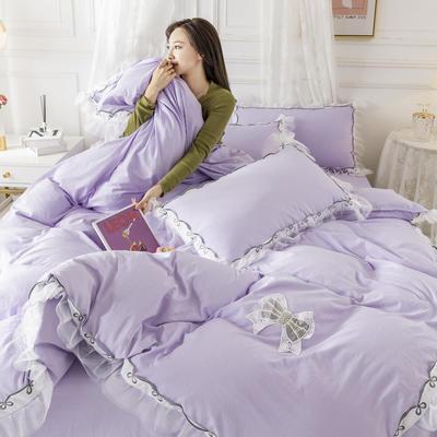 2020新款水洗棉公主风蕾丝花边绣花蝴蝶结床单款四件套 1.5m(5英尺)床 紫罗兰