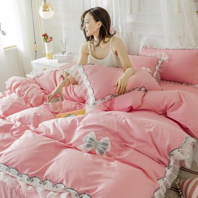 2020新款水洗棉公主风蕾丝花边绣花蝴蝶结床单款四件套 1.5m(5英尺)床 玫瑰红