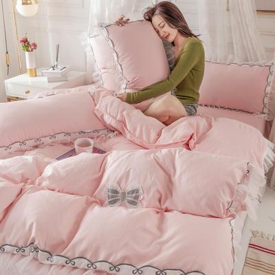 2020新款水洗棉公主风蕾丝花边绣花蝴蝶结床单款四件套 1.5m(5英尺)床 简爱玉