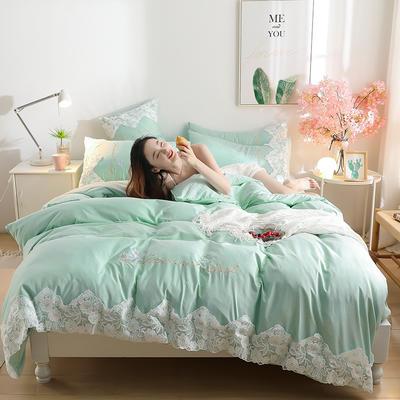 2020新款水洗棉四件套床单被套床上用品【浪漫公主】 1.5床单款四件套 【浪漫公主】薄荷绿