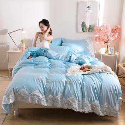2020新款水洗棉四件套床单被套床上用品【浪漫公主】 1.5床单款四件套 【浪漫公主】天空蓝