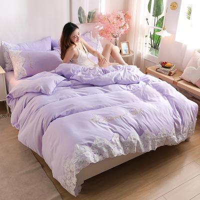 2020新款水洗棉四件套床单被套床上用品【浪漫公主】 1.5床单款四件套 【浪漫公主】香芋紫