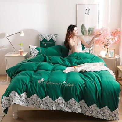 2020新款水洗棉四件套床单被套床上用品【浪漫公主】 1.5床单款四件套 【浪漫公主】墨绿色
