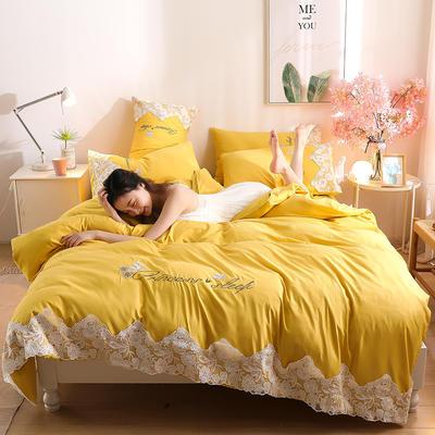 2020新款水洗棉四件套床单被套床上用品【浪漫公主】 1.5床单款四件套 【浪漫公主】柠檬黄