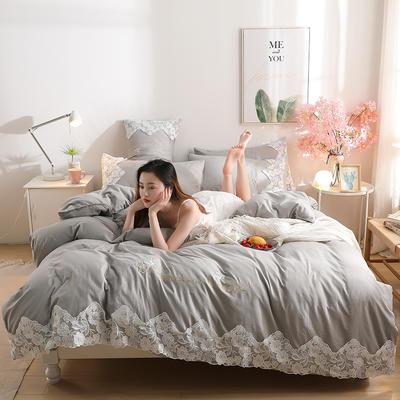 2020新款水洗棉四件套床单被套床上用品【浪漫公主】 1.5床单款四件套 【浪漫公主】星空灰