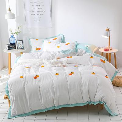 (总)网红爆款水洗棉小雏菊毛巾绣拼角宽边花边四件套 1.5m(5英尺)床 小桔子-白绿