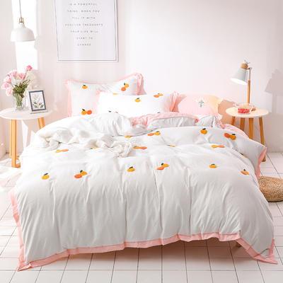 (总)网红爆款水洗棉小雏菊毛巾绣拼角宽边花边四件套 1.5m(5英尺)床 小桔子-白粉