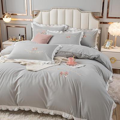 (总)雨菲家纺 2021新款爱心蝴蝶结水洗棉刺绣四件套 中号1.5m床单款四件套 爱心-灰