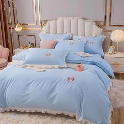 (总)雨菲家纺 2021新款爱心蝴蝶结水洗棉刺绣四件套 中号1.5m床单款四件套 爱心-蓝