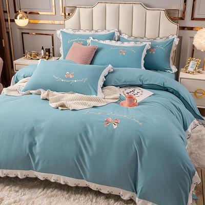(总)雨菲家纺 2021新款爱心蝴蝶结水洗棉刺绣四件套 中号1.5m床单款四件套 爱心-蓝灰