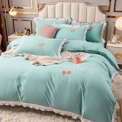 (总)雨菲家纺 2021新款爱心蝴蝶结水洗棉刺绣四件套 中号1.5m床单款四件套 爱心-绿