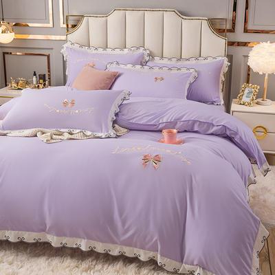 (总)雨菲家纺 2021新款爱心蝴蝶结水洗棉刺绣四件套 中号1.5m床单款四件套 爱心-紫