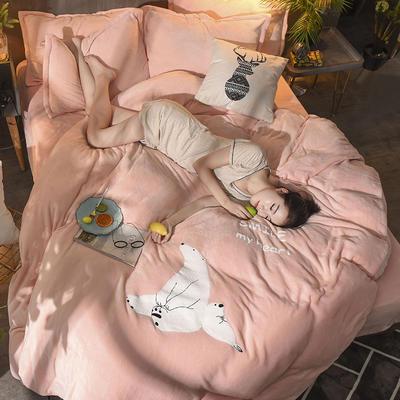 2018毛巾绣法莱绒四件套 1.5m(5英尺)床 恋爱白熊—玉色