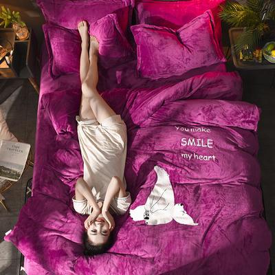 2018毛巾绣法莱绒四件套 1.8m(6英尺)床 恋爱白熊—紫红