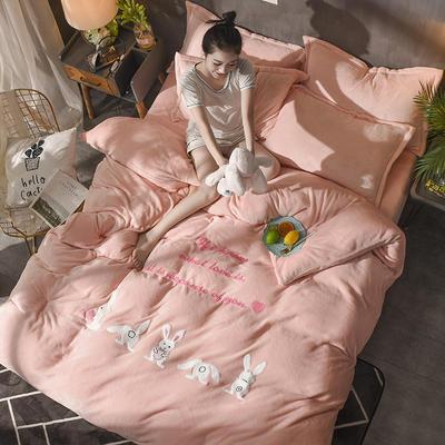 2018毛巾绣法莱绒四件套 1.8m(6英尺)床 幸运兔—玉色