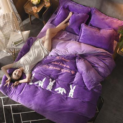 2018毛巾绣法莱绒四件套 1.8m(6英尺)床 幸运兔—紫色+浅紫