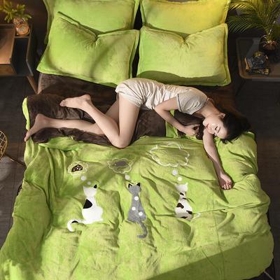 2018毛巾绣法莱绒四件套 1.8m(6英尺)床 优雅猫—绿咖啡
