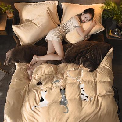 2018毛巾绣法莱绒四件套 1.8m(6英尺)床 优雅猫—驼咖啡