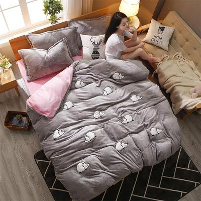 2018贴布绣法莱绒四件套 1.5m(5英尺)床 MINI刺球灰粉