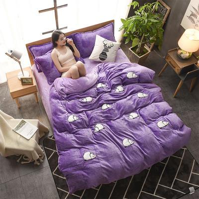 2018贴布绣法莱绒四件套 1.8m(6英尺)床 MINI刺球紫色