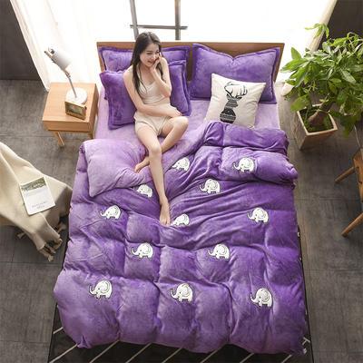 2018贴布绣法莱绒四件套 1.8m(6英尺)床 嘟嘟小象紫色