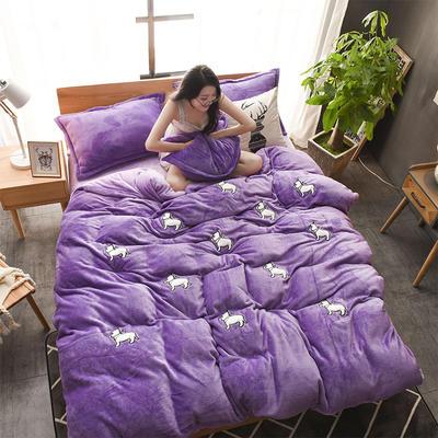 2018贴布绣法莱绒四件套 1.8m(6英尺)床 幸运萌狗紫色