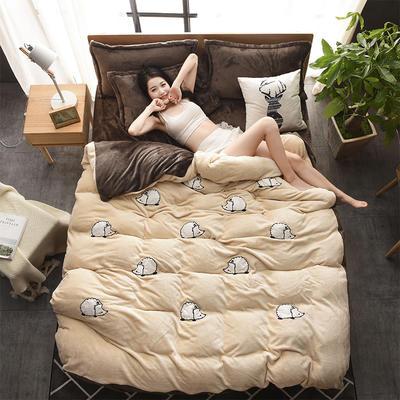 2018新品贴布绣法莱绒四件套 1.8m(6英尺)床 MINI刺球驼咖