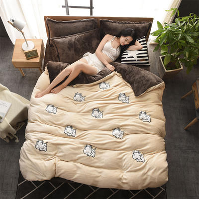 2018新品贴布绣法莱绒四件套 1.8m(6英尺)床 MOMO牛驼咖