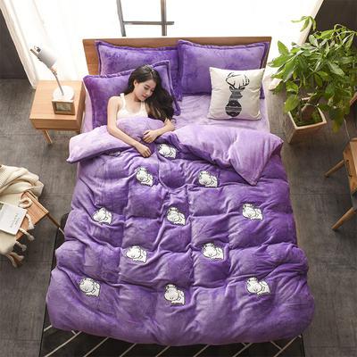 2018新品贴布绣法莱绒四件套 1.8m(6英尺)床 MOMO牛紫色