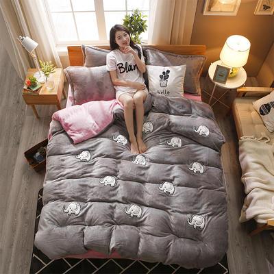 2018新品贴布绣法莱绒四件套 1.5m(5英尺)床 嘟嘟小象灰粉