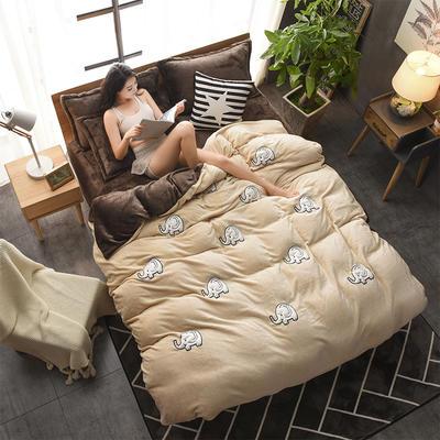 2018新品贴布绣法莱绒四件套 1.5m(5英尺)床 嘟嘟小象驼咖